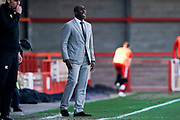 Macclesfield Town manager Sol Campbell shouts to his team during the EFL Sky Bet League 2 match between Crawley Town and Macclesfield Town at The People's Pension Stadium, Crawley, England on 23 February 2019.
