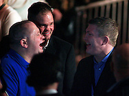 Picture by Richard Gould/Focus Images Ltd +44 7855 403186<br /> 02/11/2013<br /> Former world champion Paul Ingle (left) shares a laugh with Ricky Hatton at Hull Ice Arena, Hull.