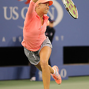 Andrea Hlavackova, (pictured) in action with team mate Lucie Hradecka, Czech Republic, winning the Women's Doubles Final at the US Open. Flushing. New York, USA. 7th September 2013. Photo Tim Clayton