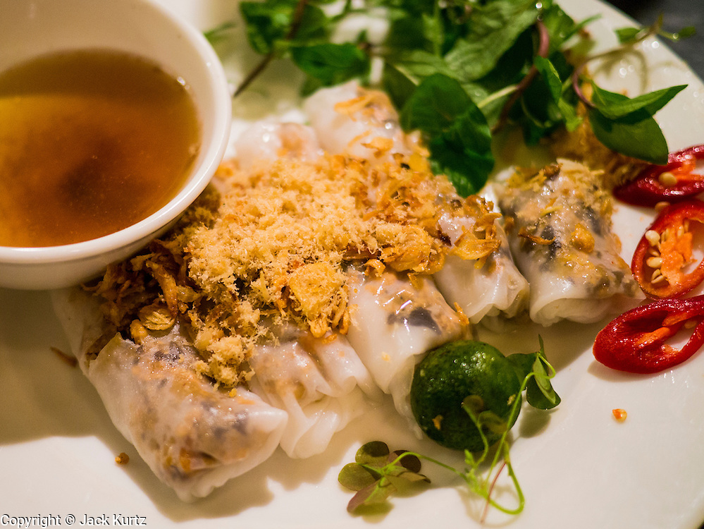 31 MARCH 2012 - HANOI, VIETNAM:   Banh Coun Nhan Tom (steamed rice rolls stuffed with shrimp and minced pork) at Quan An Ngon restaurant in Hanoi, Vietnam.   PHOTO BY JACK KURTZ
