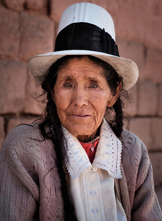 MARAS, PERU - CIRCA OCTOBER 2015:  Portrait of local woman in the town of Maras, a small village in the Cusco region known as Sacred Valley
