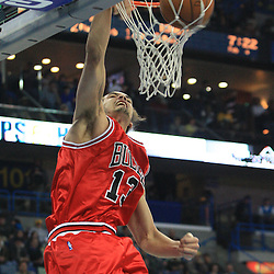 04 February 2009:  Chicago Bulls center Joakim Noah (13) dunks during a 93-107 loss by the New Orleans Hornets to the Chicago Bulls at the New Orleans Arena in New Orleans, LA.