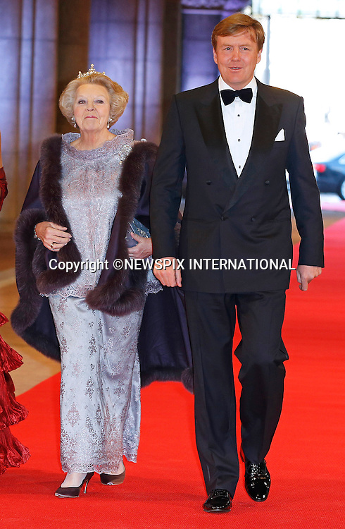 "QUEEN BEATRIX AND SON CROWN PRINCE WILLEM-ALEXANDER.attend the gala farewell dinner for Queen Beatrix at the Rijksmuseum in Amsterdam, The Netherlands_April 29, 2013..Crown Prince Willem-Alexander and Crown Princess Maxima will be proclaimed King and Queen  of The Netherlands on the abdication of Queen Beatrix on 30th April 2013..Mandatory Credit Photos: ©NEWSPIX INTERNATIONAL..**ALL FEES PAYABLE TO: ""NEWSPIX INTERNATIONAL""**..PHOTO CREDIT MANDATORY!!: NEWSPIX INTERNATIONAL(Failure to credit will incur a surcharge of 100% of reproduction fees)..IMMEDIATE CONFIRMATION OF USAGE REQUIRED:.Newspix International, 31 Chinnery Hill, Bishop's Stortford, ENGLAND CM23 3PS.Tel:+441279 324672  ; Fax: +441279656877.Mobile:  0777568 1153.e-mail: info@newspixinternational.co.uk"