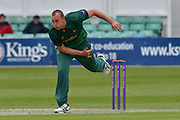 Luke Fletcher following through during the Royal London 1 Day Cup match between Worcestershire County Cricket Club and Nottinghamshire County Cricket Club at New Road, Worcester, United Kingdom on 27 April 2017. Photo by Simon Trafford.