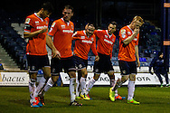 Luke Rooney of Luton Town (3rd left) celebrates scoring the opening goal against Bury during the The FA Cup match at Kenilworth Road, Luton<br /> Picture by David Horn/Focus Images Ltd +44 7545 970036<br /> 16/12/2014