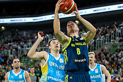 Serhii Pavlovy of Ukraine and Edo Muric of Slovenia during basketball match between National teams of Slovenia and Ukraine in Round #12 of FIBA Basketball World Cup 2019 European Qualifiers, on February 25, 2019 in Arena Stozice, Ljubljana, Slovenia. Photo by Matic Klansek Velej / Sportida