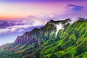 Evening light on the Kalalau Valley and Na Pali Coast from the Pihea Trail,  Kokee State Park, Kauai, Hawaii USA