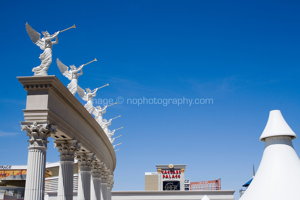 Exterior of Caesars Palace on Las Vegas Boulevard, Las Vegas, Nevada. Also known as The Las Vegas Strip where many of the famous themed casinos and hotels are located.