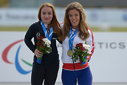 16 / 06 / 2016,  Niamh McCarthy (Carrigaline, Co. Cork), F41 class, Paralympics Ireland Athletics, pictured on the podium with her silver medal alongside Holly Neill with her bronze medal, F40/41 class discus, at the 2016 IPC Athletic European Championships in Grosseto, Italy.