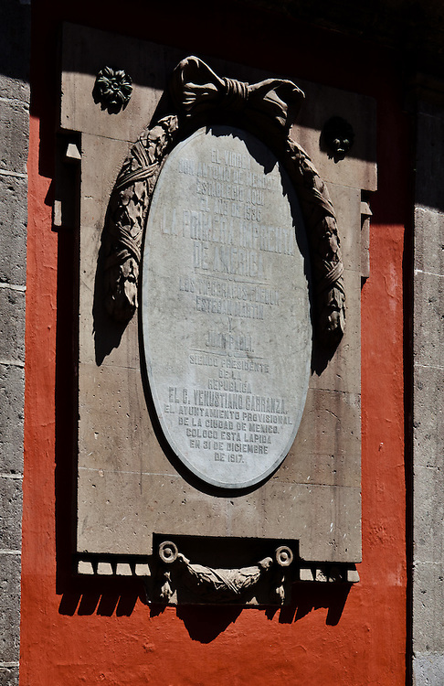 The viceroy Don Antonio de Mendoza established the first printing press of the Americas at location in 1536. The typographers were Esteban Martin and Juan Paoli. Centro historico, Mexico DF ,Mexico.