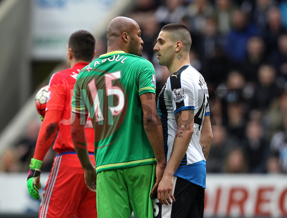 Aleksandar Mitrovic of Newcastle United and Younes Kaboul of Sunderland square up - Mandatory byline: Robbie Stephenson/JMP - 20/03/2016 - FOOTBALL - ST James Park - Newcastle, England - Newcastle United v Sunderland - Barclays Premier League
