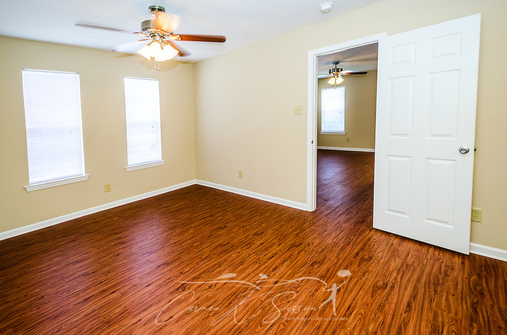 An unfurnished bedroom is pictured at Robinwood Apartments, June 11, 2015, in Mobile, Alabama. The one-bedroom apartments, located on Old Shell Road, are managed by Sealy Realty. (Photo by Carmen K. Sisson/Cloudybright)