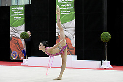 July 28, 2018 - Chieti, Abruzzo, Italy - Rhythmic gymnast Milena Baldassarri of Italy performs her hoop routine during the Rhythmic Gymnastics pre World Championship Italy-Ukraine-Germany at Palatricalle on 29th of July 2018 in Chieti Italy. (Credit Image: © Franco Romano/NurPhoto via ZUMA Press)