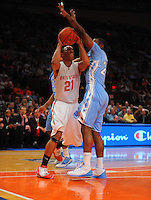 Ohio State guard/forward Evan Turner #21 against the North Carolina Tarheels during the 2K Sports Classic at Madison Square Garden. (Mandatory Credit: Delane B. Rouse/Delane Rouse Photography)