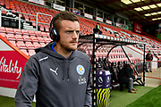 Jamie Vardy (9) of Leicester City walks out on to the pitch before the Premier League match between Bournemouth and Leicester City at the Vitality Stadium, Bournemouth, England on 30 September 2017. Photo by Graham Hunt.