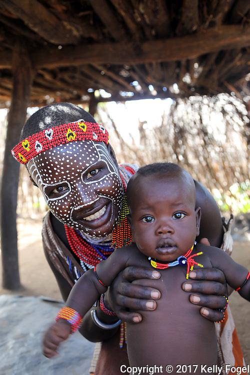 Karo (or Kara) Tribe, Omo Valley, Southern Ethiopia. Kortcho Village.