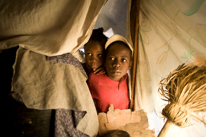 Ismaiel Louis and her brother Jimmy are living in a camp in Mon Ganye, Petionville, Haiti. Photo by Ben Depp 2/8/2010