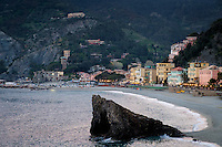 MONTEROSSO AL MARE, ITALY - CIRCA MAY 2015:  View of the beach in Monterroso Al Mare in Cinque Terre, Italy.