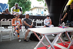Lizzie Armitstead (GBR) of Boels-Dolmans Cycling Team (left) and Anna van der Breggen (NED) of Rabo-Liv Cycling Team wait for their start at the Giro Rosa 2016 - Prologue. A 2 km individual time trial in Gaiarine, Italy on July 1st 2016.