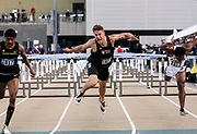 Nick Johnson (1673) of Washington State runs in the 110m hurdles during the NCAA West Track & Field Preliminary, Saturday, May 25, 2019, in Sacramento, Calif.