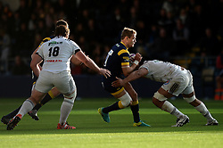 Jamie Shillcock of Worcester Warriors is challenged for the ball - Mandatory by-line: Dougie Allward/JMP - 22/10/2016 - RUGBY - Sixways Stadium - Worcester, England - Worcester Warriors v Brive - European Challenge Cup