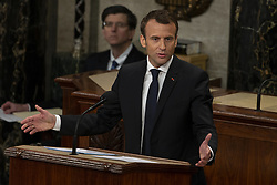 April 25, 2018 - Washington, District of Columbia, U.S. - French President Emmanuel Macron delivers a joint address to the United States congress at the United States Capitol in Washington, DC on April 25, 2018. (Credit Image: © Alex Edelman/CNP via ZUMA Wire)