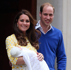 Catherine, Duchess of Cambridge and Prince William, Duke of Cambridge depart the Lindo Wing with their newborn daughter Charlotte Elizabeth Diana at the St Mary's Hospital in London, UK. 02/05/2015<br /> BYLINE MUST READ : JAMESY/GOTCHA IMAGES<br /> <br /> Copyright by © Gotcha Images Ltd. All rights reserved.<br /> Usage of this image is conditional upon the acceptance <br /> of Gotcha Images Ltd, terms and conditions available at<br /> www.gotchaimages.com