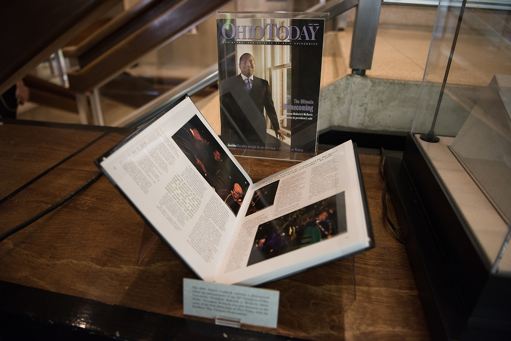 Coverage of President Roderick McDavis's inauguration in Ohio Today from 2004 is on display in Alden Library.