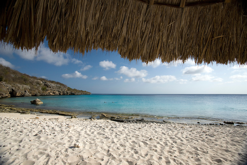 Palapa on beach, Curacao, Netherlands Antilles