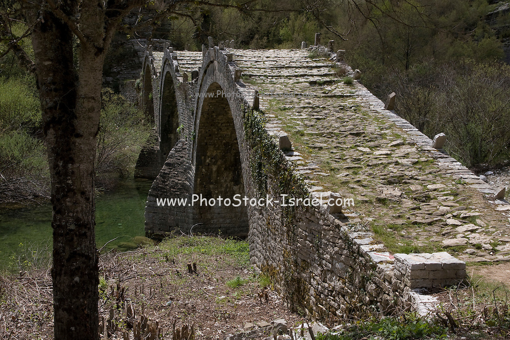 Greece, Epirus, Zagori, Pindus Mountains, The Plakidhas Stone Bridge