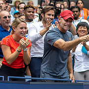 2019 US Open Tennis Tournament- Day Thirteen.    Coach Sylvain Bruneau congratulates Bianca Andreescu of Canada after her victory against Serena Williams of the United States in the Women's Singles Final on Arthur Ashe Stadium during the 2019 US Open Tennis Tournament at the USTA Billie Jean King National Tennis Center on September 7th, 2019 in Flushing, Queens, New York City.  (Photo by Tim Clayton/Corbis via Getty Images)