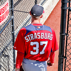 Mar 6, 2013; Clearwater, FL, USA; Washington Nationals starting pitcher Stephen Strasburg (37) before a spring training game against the Philadelphia Phillies at Bright House Field. Mandatory Credit: Derick E. Hingle-USA TODAY Sports