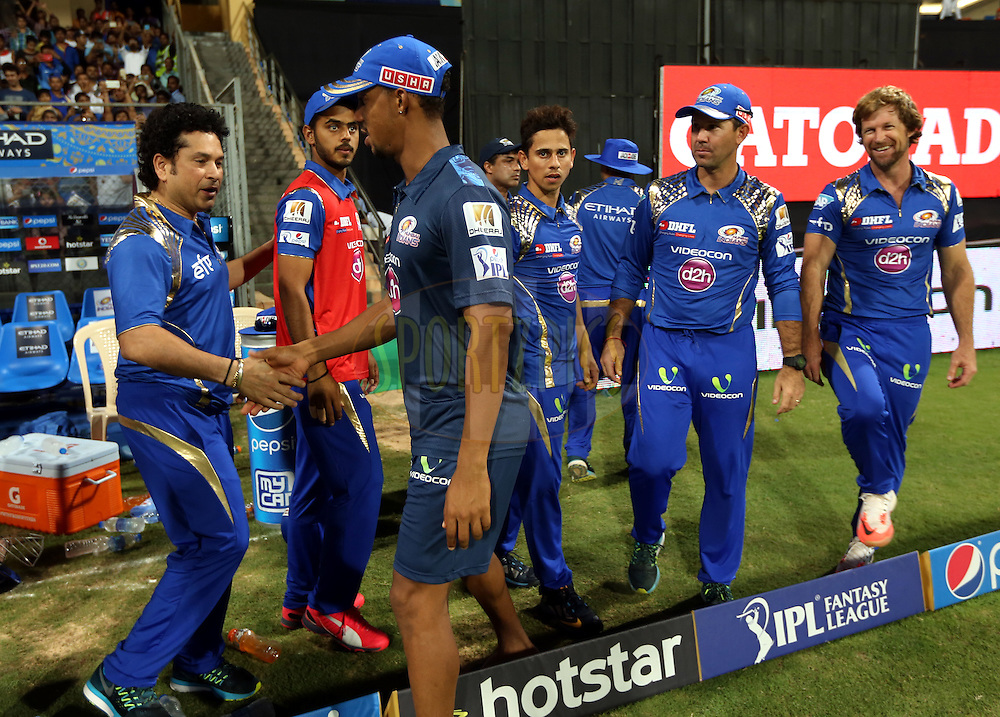 Mumbai Indians team celebrates after winning the match 23 of the Pepsi IPL 2015 (Indian Premier League) between The Mumbai Indians and The Sunrisers Hyferabad held at the Wankhede Stadium in Mumbai India on the 25th April 2015.<br /> <br /> Photo by:  Sandeep Shetty / SPORTZPICS / IPL