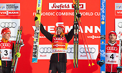18.01.2014, Casino Arena, Seefeld, AUT, FIS Weltcup Nordische Kombination, Seefeld Triple, Podium, im Bild zweitplatzierter Johannes Rydzek (GER), Sieger Eric Frenzel (GER) und drittplatzierter Haavard Klemetsen (NOR) // fl. second placed Johannes Rydzek, Winner Eric Frenzel (GER) and third Placed Haavard Klemetsen (NOR) during Winner Award Ceremony at FIS Nordic Combined World Cup Triple at the Casino Arena in Seefeld, Austria on 2014/01/18. EXPA Pictures © 2014, PhotoCredit: EXPA/ JFK