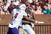 STARKVILLE, MS - SEPTEMBER 19:  Donald Gray #6 of the Mississippi State Bulldogs is interfered with by Isaac Warren #4 of the Northwestern State Demons at Davis Wade Stadium on September 19, 2015 in Starkville, Mississippi.  The Bulldogs defeated the Demons 62-13.  (Photo by Wesley Hitt/Getty Images) *** Local Caption *** Donald Gray; Isaac Warren