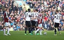 Son Heung-Min of Tottenham Hotspur (C) celebrates scoring his sides second goal - Mandatory by-line: Jack Phillips/JMP - 01/04/2017 - FOOTBALL - Turf Moor - Burnley, England - Burnley v Tottenham Hotspur - Premier League