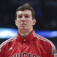 30 October 2010: Chicago Bulls Omer Asik is seen during the national anthem prior to the Chicago Bulls 101-91 victory over the Detroit Pistons at the United Center, in Chicago, Illinois, USA.