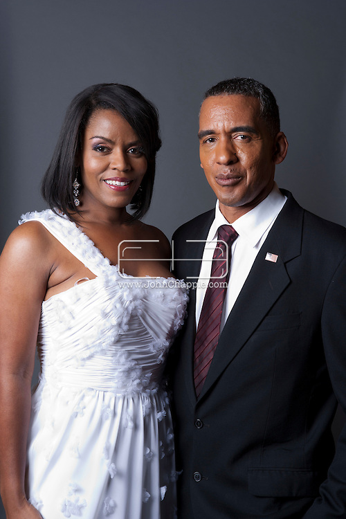 February 20th, 2012, Las Vegas, Nevada. The 21st Annual Reel Awards in Las Vegas where celebrity lookalikes show off their talents. Pictured is Vernetta Jenkins as Michelle Obama and Michael Bryant as President Barack Obama..PHOTO © JOHN CHAPPLE / www.johnchapple.com.
