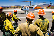 26 JUNE 2005 - CAVE CREEK, AZ:  Members of the Horseshoe Meadows Hotshots watch a Bell Super 205 helicopter land at the Skyranch at Carefree, a private airport in Carefree, after returning from the Cave Creek Complex fire line Sunday afternoon. The airport has been allowing the team fighting the Cave Creek Complex fires to use their facilities as the helibase for the fire. The Cave Creek Complex fire was the third largest wildfire in the state of Arizona to date, after the Rodeo-Chediski fire and Wallow Fire. The fire started on June 21, 2005 by a lightning strike during a monsoon storm and burned 243,950 acres (987.2 km2).   PHOTO BY JACK KURTZ