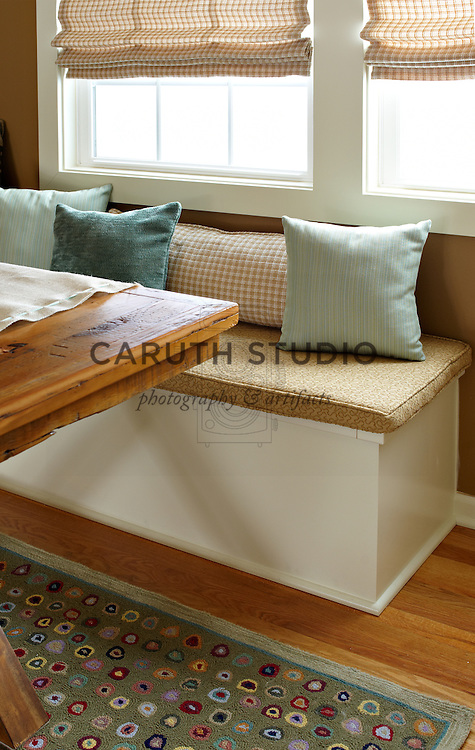 Dining room makeover, banquette detail