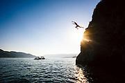 Cliff jumping at Kalamalka Lake, Vernon, British Columbia