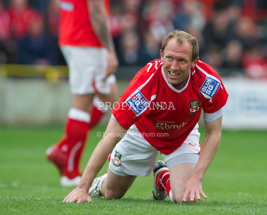 WREXHAM, WALES - Monday, May 7, 2012: Wrexham's player-manager Andrew Morrell looks dejected against Luton Town during the Football Conference Premier Division Promotion Play-Off 2nd Leg at the Racecourse Ground. (Pic by David Rawcliffe/Propaganda)