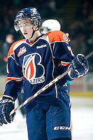 KELOWNA, CANADA, JANUARY 25: Aspen Sterzer #29 of the Kamloops Blazers stands on the ice as the Kamloops Blazers visit the Kelowna Rockets on January 25, 2012 at Prospera Place in Kelowna, British Columbia, Canada (Photo by Marissa Baecker/Getty Images) *** Local Caption ***