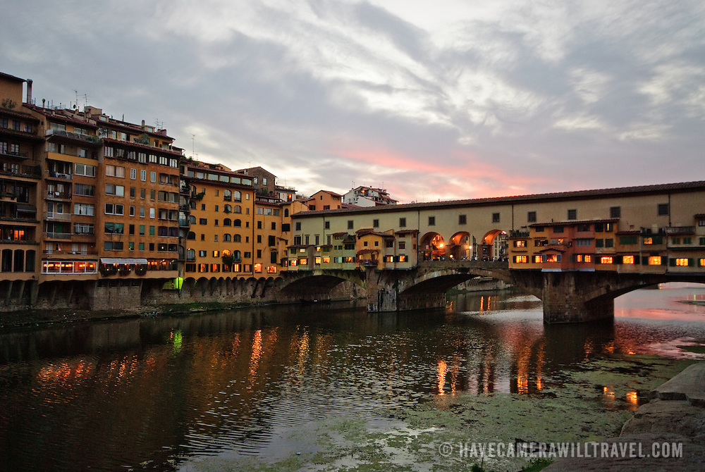 Ponte Vecchio over the River Arno in the very early morning