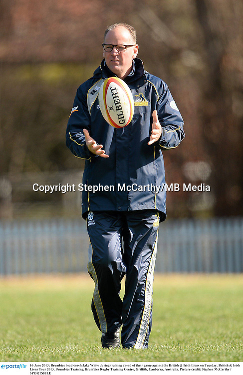 16 June 2013; Brumbies head coach Jake White during training ahead of their game against the British & Irish Lions on Tuesday. British & Irish Lions Tour 2013, Brumbies Training, Brumbies Rugby Training Centre, Griffith, Canberra, Australia. Picture credit: Stephen McCarthy / SPORTSFILE