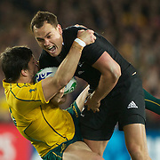 Israel Dagg, New Zealand, is tackled by Adam Ashley-Cooper, Australia, during the New Zealand V Australia Semi Final match at the IRB Rugby World Cup tournament, Eden Park, Auckland, New Zealand, 16th October 2011. Photo Tim Clayton...