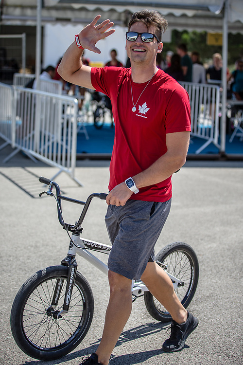 Men Elite #49 (NYHAUG Tory) CAN arriving on race day at the 2018 UCI BMX World Championships in Baku, Azerbaijan.