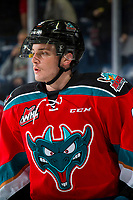 KELOWNA, CANADA - NOVEMBER 21: Mark Liwiski #9 of the Kelowna Rockets warms up against the Regina Pats  on November 21, 2018 at Prospera Place in Kelowna, British Columbia, Canada.  (Photo by Marissa Baecker/Shoot the Breeze)