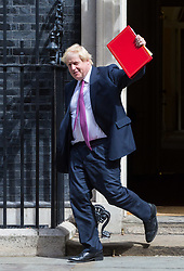 London, July 18th 2017.  Foreign and Commonwealth Secretary Boris Johnson leaves the last cabinet meeting together before the Parliamentary summer recess at Downing Street in London.