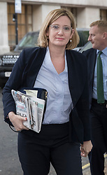 © Licensed to London News Pictures. 24/04/2017. London, UK. Home Secretary Amber Rudd MP arrives at Conservative party headquarters in London. The Prime Minister posed for portraits with individual Conservative candidates at headquarters today ahead of general election which is due to take place on June 8th. Photo credit: Peter Macdiarmid/LNP